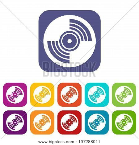 Gramophone vinyl LP record icons set vector illustration in flat style in colors red, blue, green, and other