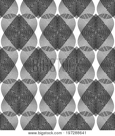 Geometric monochrome stripy overlay seamless pattern black and white vector abstract background. Graphic symmetric backdrop with romantic hearts Valentine Day theme.