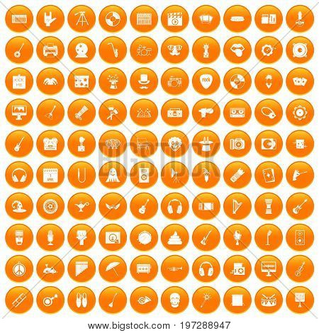 100 show business icons set in orange circle isolated on white vector illustration
