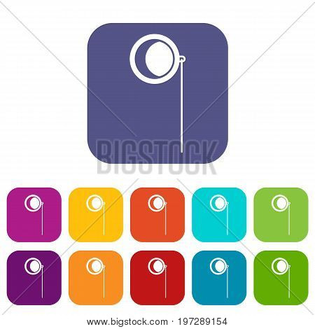 Monocle icons set vector illustration in flat style in colors red, blue, green, and other