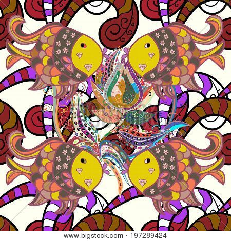 Funny dooles fishes outline pattern on colored background. Tropical fish sea fish aquarium fish on colored background.