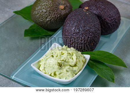 Avocado Skin & Hair Care Home Spa, Ripe Avocados And Bowl With Homemade Fresh Avocado Mask
