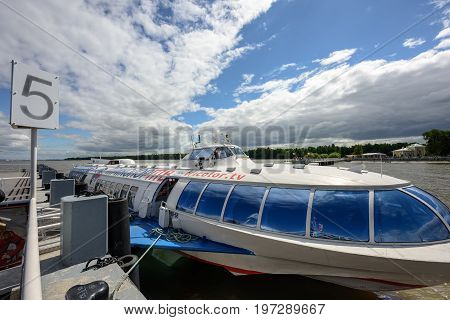 PETERHOF/ RUSSIA - JULY 2, 2017.  Passenger mooring Peterhof for hydrofoil boats, of the type Meteor, located at the open coast of Gulf of Finland, in Peterhof (suburb of St. Petersburg), Russia