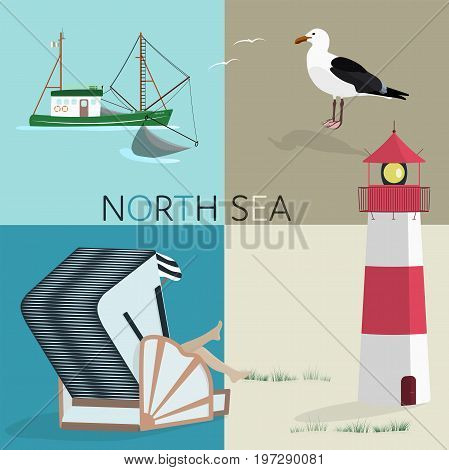 Summertime. North Sea at the beach with lighthouse, fishing boat, roofed wicker beach chair and sea gull.