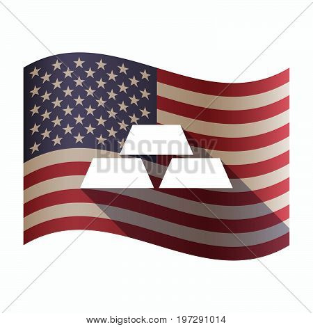 Isolated  Usa Flag With Three Gold Bullions