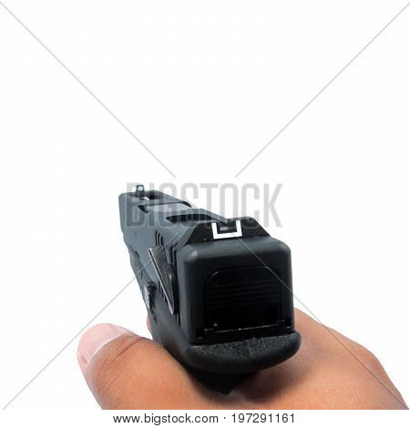 male hand with handgun isolated on white background clipping path in
