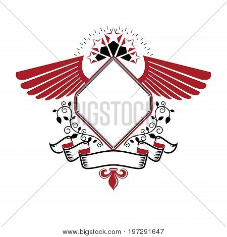 Graphic winged emblem composed with military Star and decorative ribbon. Heraldic vector design element. Retro style label heraldry logo.