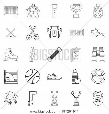 Sports hall icons set. Outline set of 25 sports hall vector icons for web isolated on white background