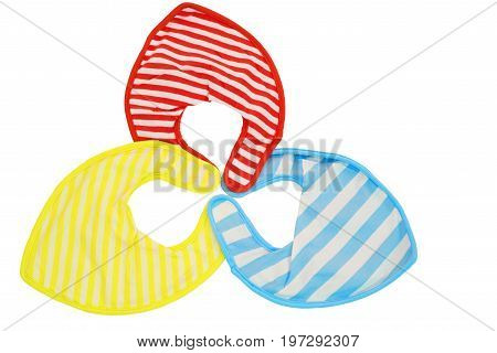 Red, yellow and blue isolated baby bibs