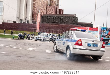 Moscow - May 5, 2017: A Back View At The Moscow Road Police Car