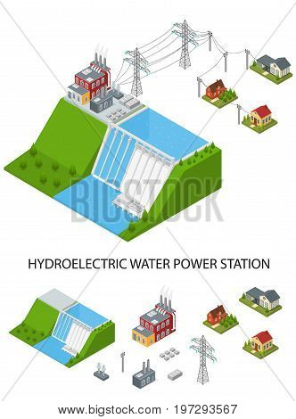 Hydroelectricity Power Station and Element Set Isometric View Alternative Energy Concept. Dam on The River with Houses and Building Transmission Structure. Vector illustration
