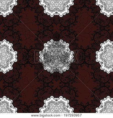 Pattern on brown and white background with elements. Vintage pattern on brown and white roughness background with white elements. Christmas snowflake new year.