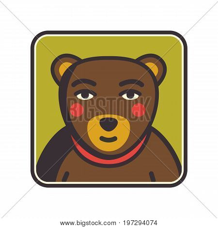 Bear face flat icon. Animal icons series. Bear head Vector Illustration. Illustration of bear head cartoon style. Bear muzzle avatar. Vector illustration