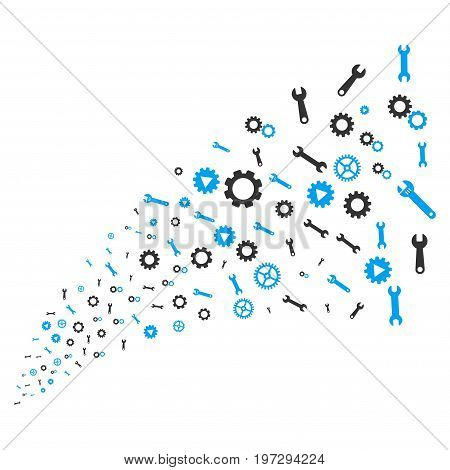 Stream of setup tools icons. Vector illustration style is flat blue and gray iconic setup tools symbols on a white background. Object fountain combined from pictographs.