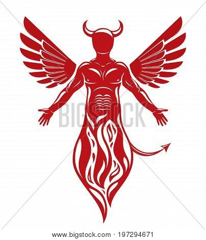 Vector illustration of human horned frightening creature made with bird wings. Evil spirit flame demon.