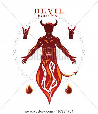 Vector graphic illustration of muscular human derives from fire. Mystic infernal demon horned Lucifer evil forces.
