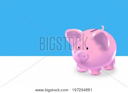 Realistic Money Box Pink Pig Background Card Investment and Savings Finance Concept. Vector illustration