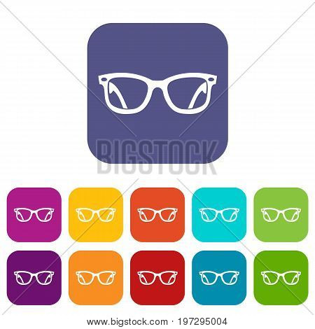 Eyeglasses icons set vector illustration in flat style in colors red, blue, green, and other