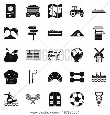Water recreation icons set. Simple set of 25 water recreation icons for web isolated on white background
