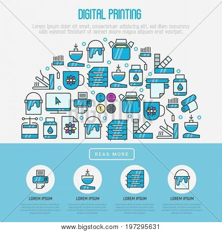Digital printing concept with thin line icons. Vector illustration for web page, banner, print media.