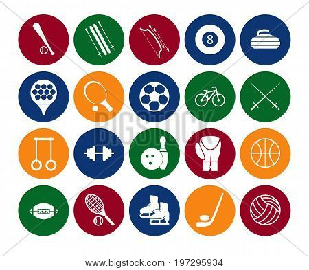 Sport Icon Signs and Symbols Set Color in the Circle for Web or App Mobile. Vector illustration