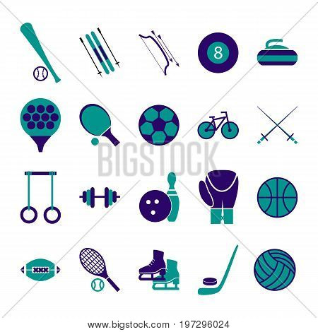Sport Icon Signs and Symbols Blue Set for Web or App Mobile. Vector illustration