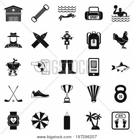 Underwater adventure icons set. Simple set of 25 underwater adventure icons for web isolated on white background
