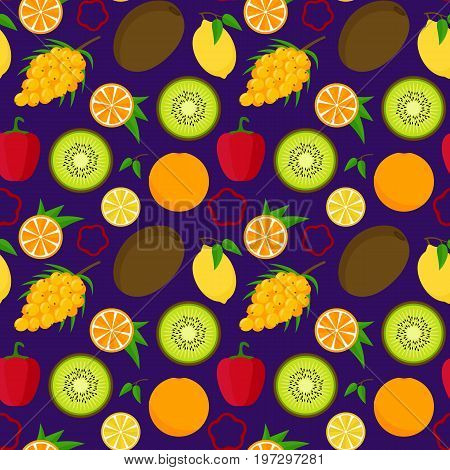 Cartoon Food with Vitamin C Background Pattern. Concept Healthy Nutrition or Diet Flat Design Style. Vector illustration