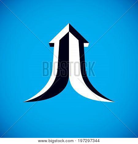 Vector boost up arrow graphic design element. Corporate development logo. Company increasing concept.