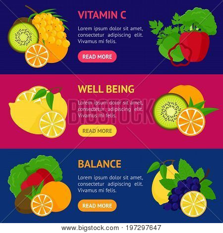 Cartoon Food with Vitamin C Banner Horizontal Set Concept Healthy Nutrition or Diet Flat Design Style. Vector illustration