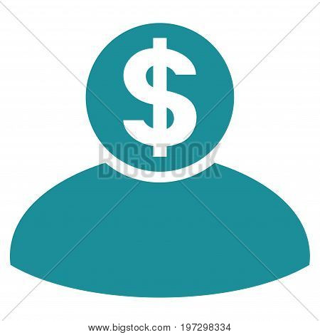 Banker vector icon. Flat soft blue symbol. Pictogram is isolated on a white background. Designed for web and software interfaces.