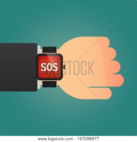 Hand With A Smart Watch And    The Text Sos