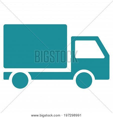 Delivery Lorry vector icon. Flat soft blue symbol. Pictogram is isolated on a white background. Designed for web and software interfaces.