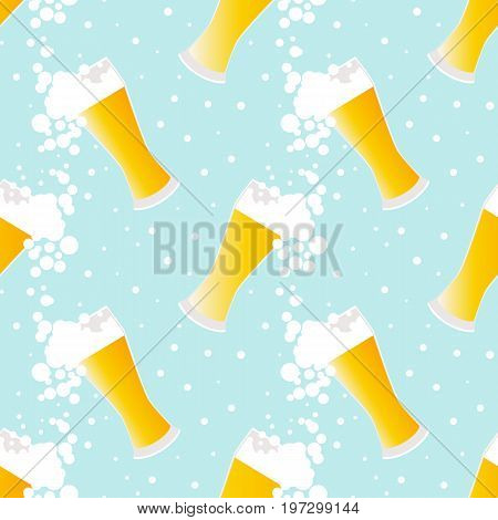 Beer seamless pattern with bubbles on blue background