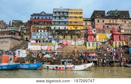Ghats On Ganges Riverbank In Varanasi, India