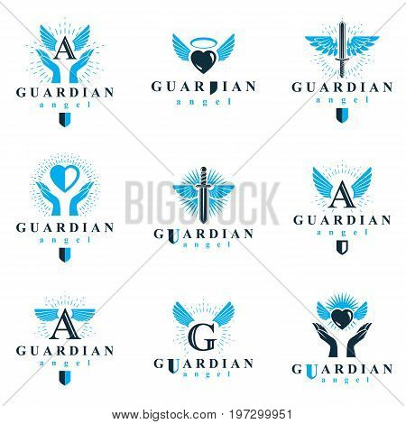 Holy spirit graphic vector logotypes collection can be used in charity and catechesis organizations. Vector emblems created using battle swords loving hearts and guardian shields.