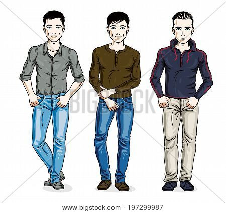 Handsome men standing wearing fashionable casual clothes. Vector different people characters set.