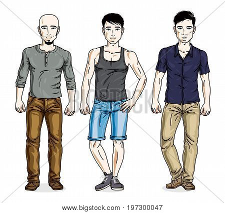 Handsome men posing in stylish casual clothes. Vector diverse people illustrations set.