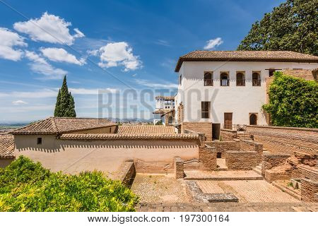 Granada Spain - May 19 2014: Nice old houses in the Alhambra Palace Granada Andalusia Spain.