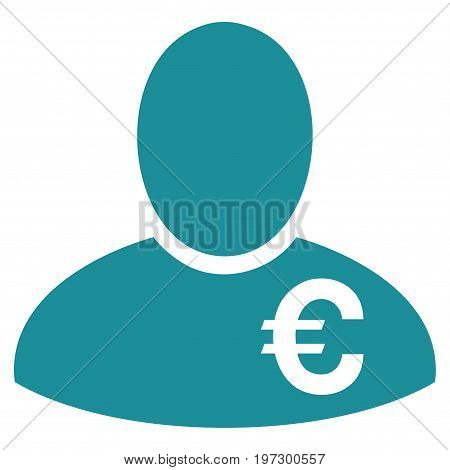 Euro Financier vector icon. Flat soft blue symbol. Pictogram is isolated on a white background. Designed for web and software interfaces.