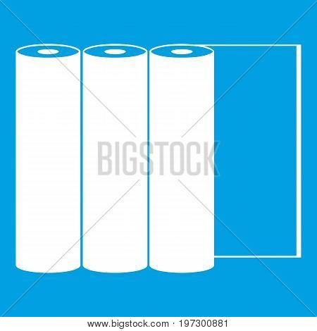 Rolls of paper icon white isolated on blue background vector illustration
