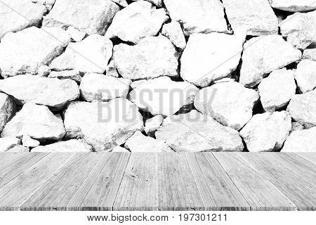 Stone Wall Texture , Process In White Color With Wood Terrace With World Map