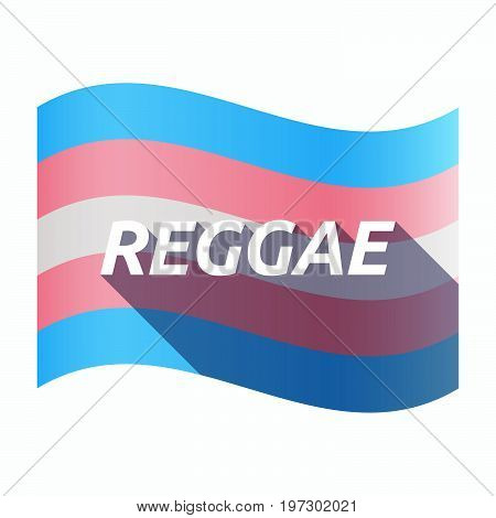 Isolated Transgender Flag With    The Text Reggae