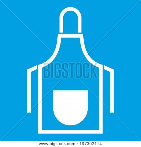 Kitchen apron icon white isolated on blue background vector illustration
