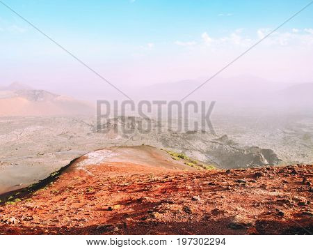 Beautiful view of lava fields with sparse vegetation in Teide National Park Tenerife, Canary.