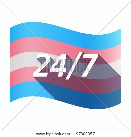 Isolated Transgender Flag With    The Text 24/7