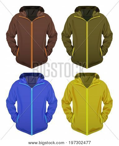 Four Vector Jackets Various Colors Ready For Your Branding Eps 10 Vector Transparency and Gradient Mesh Used