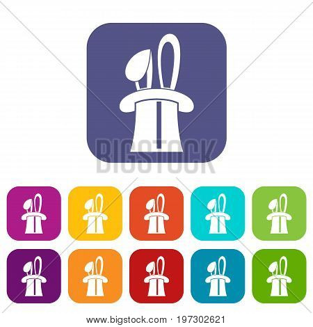 Rabbit appearing from a top magic hat icons set vector illustration in flat style in colors red, blue, green, and other