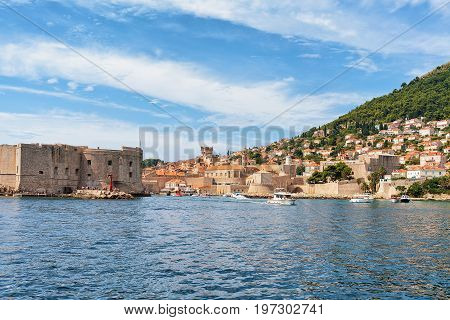 Sailing Boats At Saint John Fort And Old Port Dubrovnik