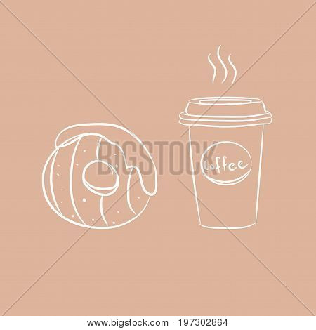 Coffee To Go. Vector Illustration, 10Eps. Modern Calligraphy Style Quote. Coffee Cup And Sweet Donut